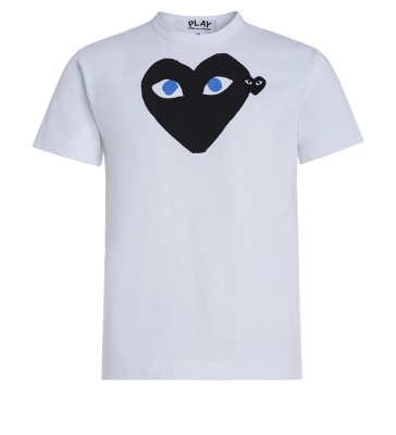 T-shirt Play by Comme de Garcon bianca con cuore nero