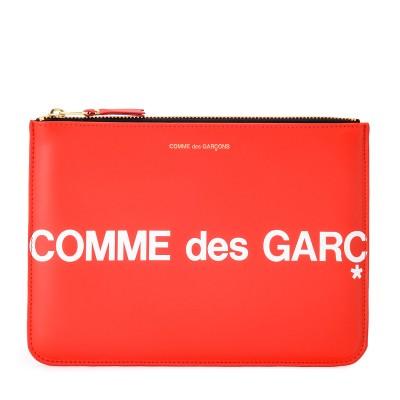 Bustina Comme Des Garçons Wallet Huge Logo in pelle color rosso
