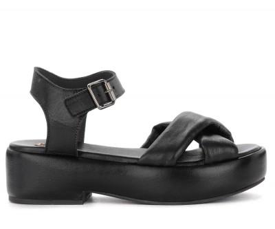 Sandalo con zeppa Moma in pelle nera