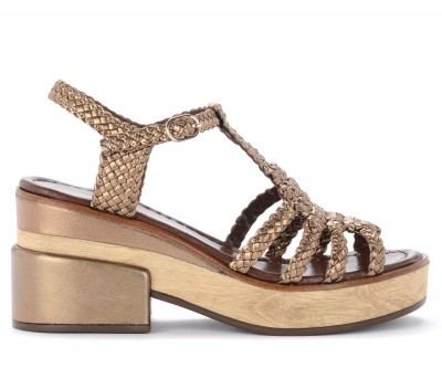 Sandalo con tacco Pons Quintana in pelle intrecciata color bronzo