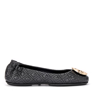 Ballerina Tory Burch Minnie Travel in pelle nera trapuntata