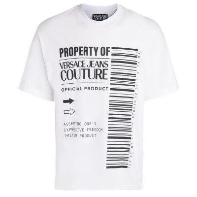 T-Shirt Versace Jeans Couture bianca con logo barcode