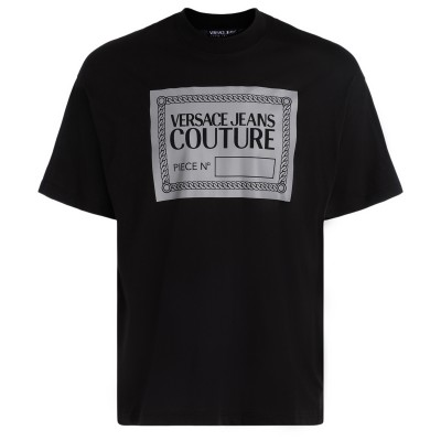 T-Shirt Versace Jeans Couture nera con logo reflective