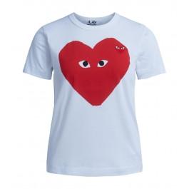 Camiseta Comme Des Garçons Play blanca con corazón rojo
