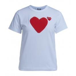 Camiseta Comme Des Garçons Play blanca doble corazón rojo