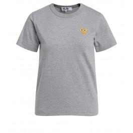 Camiseta Comme des Garçons Play de cuello redondo gris