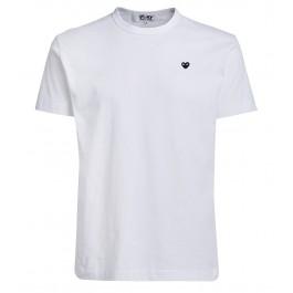 Camiseta Comme des Garçons Play de cuello redondo blanco