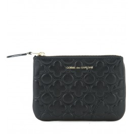 Clutch Comme des Garcons wallet en piel con estampado color negro