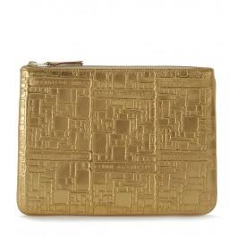 Bolso de mano Wallet Comme des Garçons en piel oro con estampa