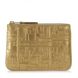 Bolso de mano Wallet Comme des Garçons en piel oro estampada
