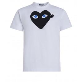 T-shirt Play by Comme des Garçons blanca con corazón negro