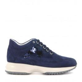 Sneaker Hogan Interactive en gamuza y lentejuelas azules