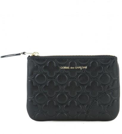 Portafoglio Comme des Garcons wallet in pelle stampata colore nero