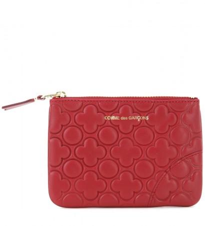 Portafoglio Comme des Garcons wallet in pelle stampata colore rosso