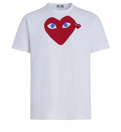 T-shirt Play by Comme de Garcon bianca con cuore rosso