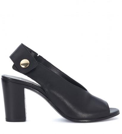 Sandalo con tacco Lemaré in pelle nera con bottone