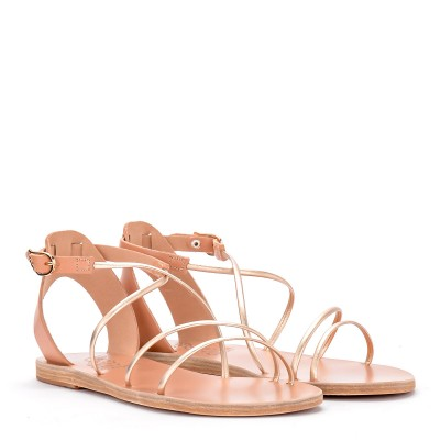 Laterale Sandalia Ancient Greek Sandals Meloivia de piel platino