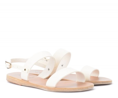 Laterale Sandalia Ancient Greek Sandals Clio de piel blanca
