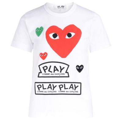 Laterale Camiseta para mujer Comme Des Garçons PLAY blanca con corazón rojo y logotipos