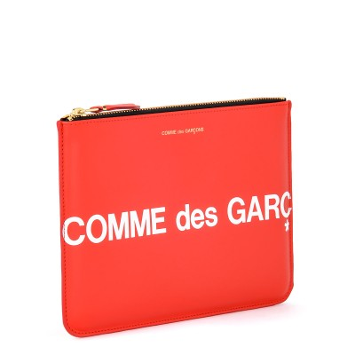 Laterale Cartera clutch Comme Des Garçons Wallet Huge Logo de piel color rojo