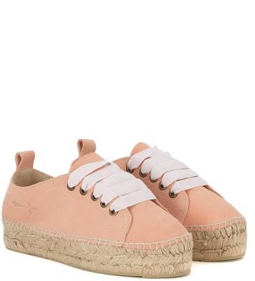 Laterale Sneaker espadrilla Manebí Hamptons en suede rosa y yute
