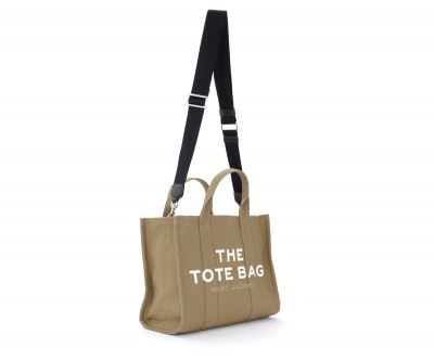 Laterale Borsa The Marc Jacobs The Small Traveler Tote Bag in canvas verde