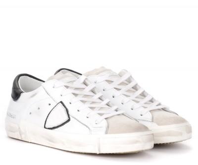 Laterale Zapatilla Philippe Model Paris X de piel blanca con alerón negro