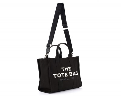 Laterale Bolso The Marc Jacobs The Small Traveler Tote Bag de canvas negro