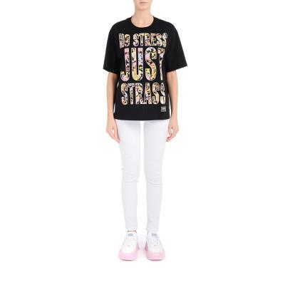 Laterale Camiseta grande Versace Jeans Couture negra con estampa Versailles