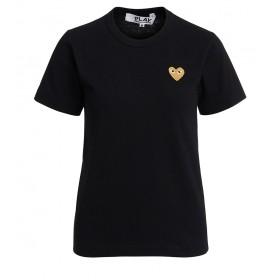 Camiseta Comme des Garçons Play de cuello redondo negra