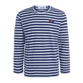 Camiseta de hombre Comme Des Garçons PLAY de rayas con doble corazón