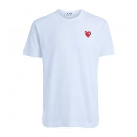 Camiseta Comme Des Garçons PLAY cuello redondo blanca