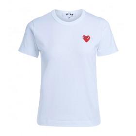 Camiseta Comme des Garçons Play blanca corazón rojo