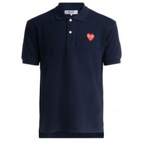 Polo Comme Des Garcons Play azul navy con corazón rojo