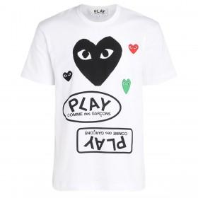 Camiseta para hombre Comme Des Garçons PLAY blanca con corazón negro y logotipos