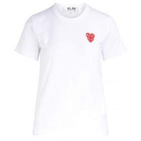 Camiseta para mujer Comme Des Garçons PLAY blanca con corazones superpuestos