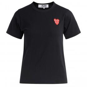 Camiseta para mujer Comme Des Garçons PLAY negra con corazones superpuestos