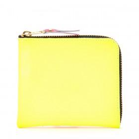 Cartera Comme Des Garçons Wallet de piel amarilla y naranja fluo