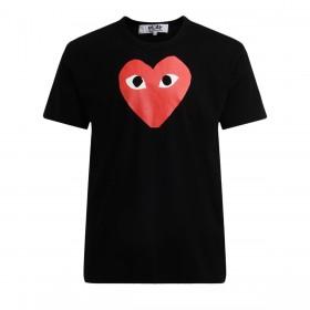 Camiseta de hombre Comme Des Garçons PLAY negra con corazón rojo