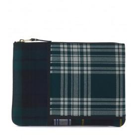Bolso de mano Comme des Garçons Wallet en lana tartan patchwork verde