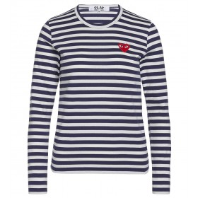 T-shirt Play by Comme des Garçons azul con rayas blancas