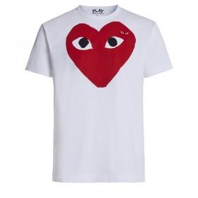 T-shirt Play by Comme des Garçons blanca con corazón rojo ojos negros