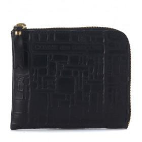 Bolso de mano Wallet Comme Des Garçons en piel negra estampada