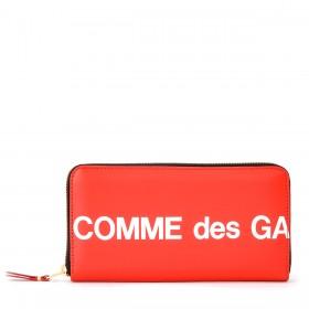 Cartera Comme Des Garçons Wallet Huge Logotipo cremallera de piel roja