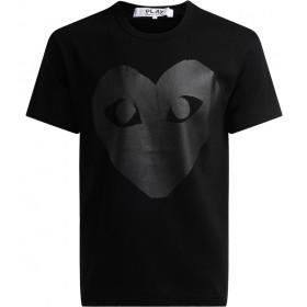 Camiseta Comme des Garçons Play de cuello redondo de color negro, con estampa corazón