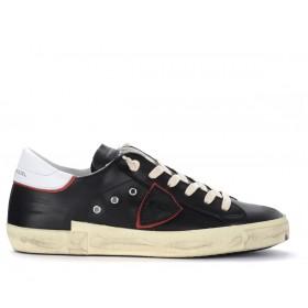 Zapatillas Philippe Model Paris X de piel negra con alerón blanco