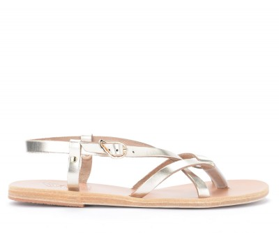 Sandalo Ancient Greek Sandals Semele in pelle metallizzata platino