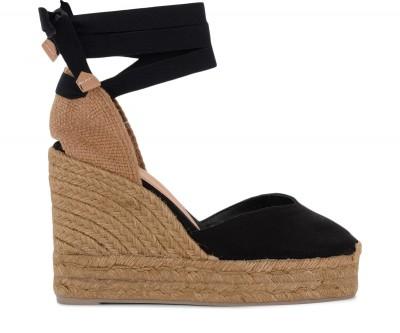 Sandalo con zeppa Castañer Chiara in tela e tessuto nero