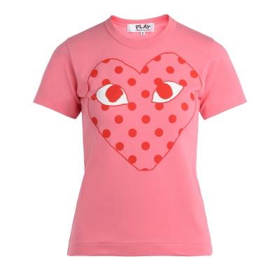 T-Shirt Comme Des Garçons Play rosa con cuore a pois rossi