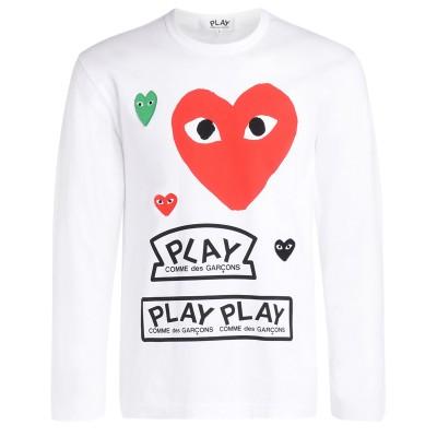 T-Shirt a manica lunga Comme Des Garçons PLAY bianca con cuore rosso e loghi